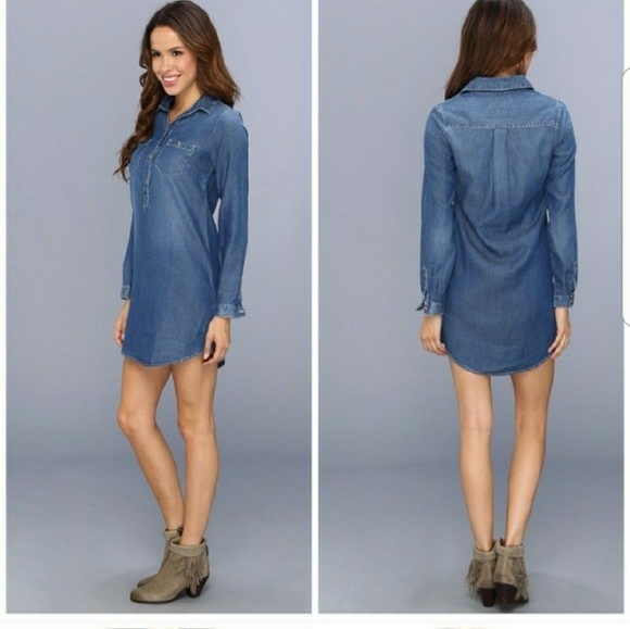 c96d684ea6 Lucky Brand chambray popover shirt dress medium. M 5ac56ffc3a112e53528d0e18
